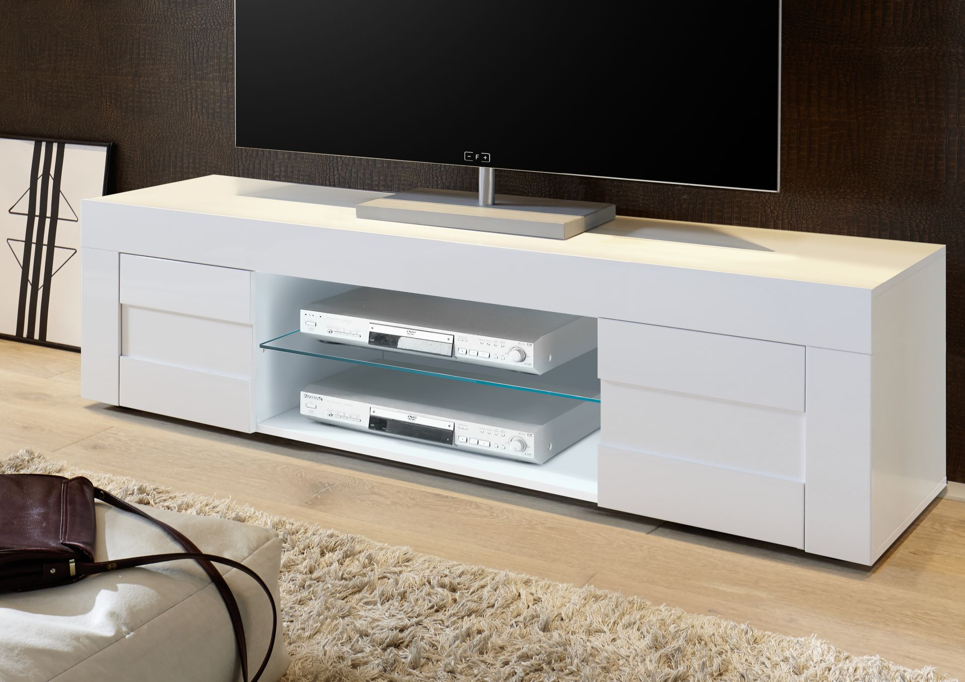 Tv meubel betonlook hoogglans aktie for Tv dressoir hoogglans wit