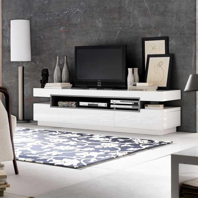 Design lowboard hoogglans wit kopen aktie for Hoogglans wit tv meubel