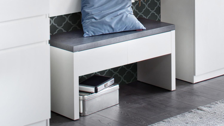 garderobe bank wit aktie. Black Bedroom Furniture Sets. Home Design Ideas