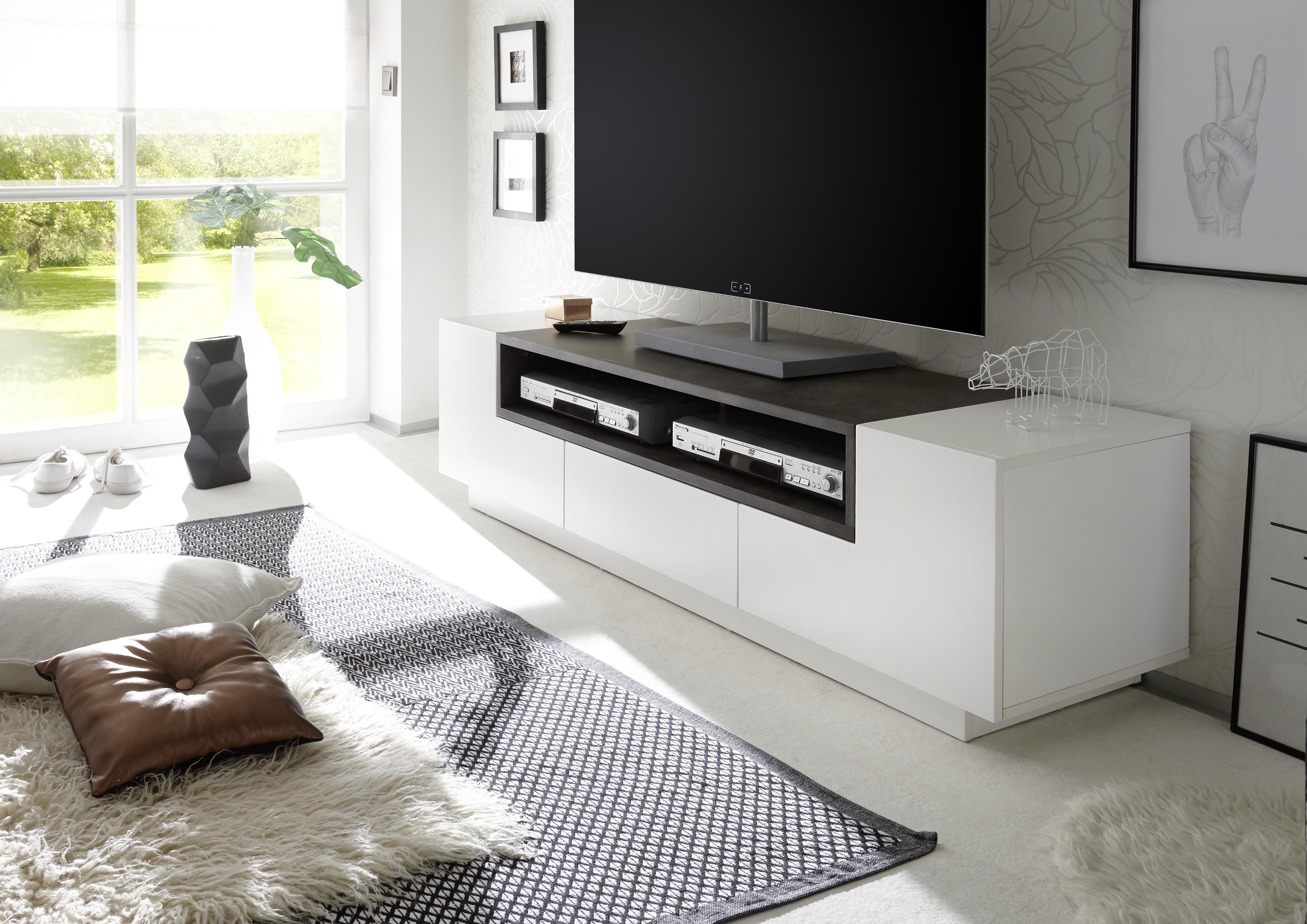 Witte Tv Meubel : Landelijk wit tv meubel met eiken blad  cm hg