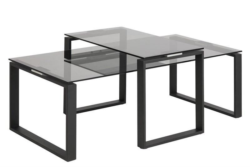 Zwarte Salontafel Met Glas.Salontafel Set Donker Glas Zwarte En Witte Hoogglans Meubelen Aktie Wonen Nl