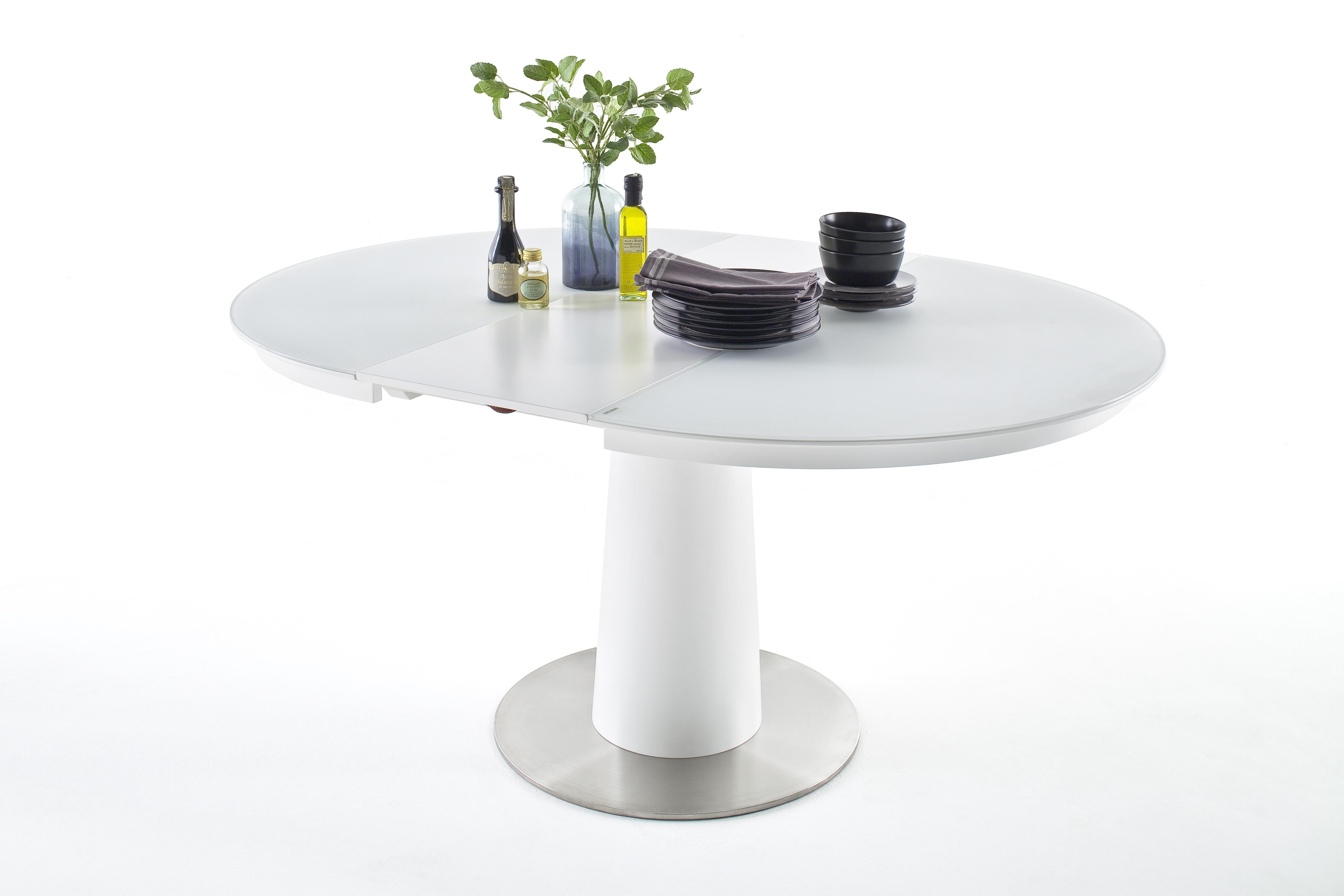 Ronde Witte Tafel.Eettafel Wit Glas Aktie Wonen Nl