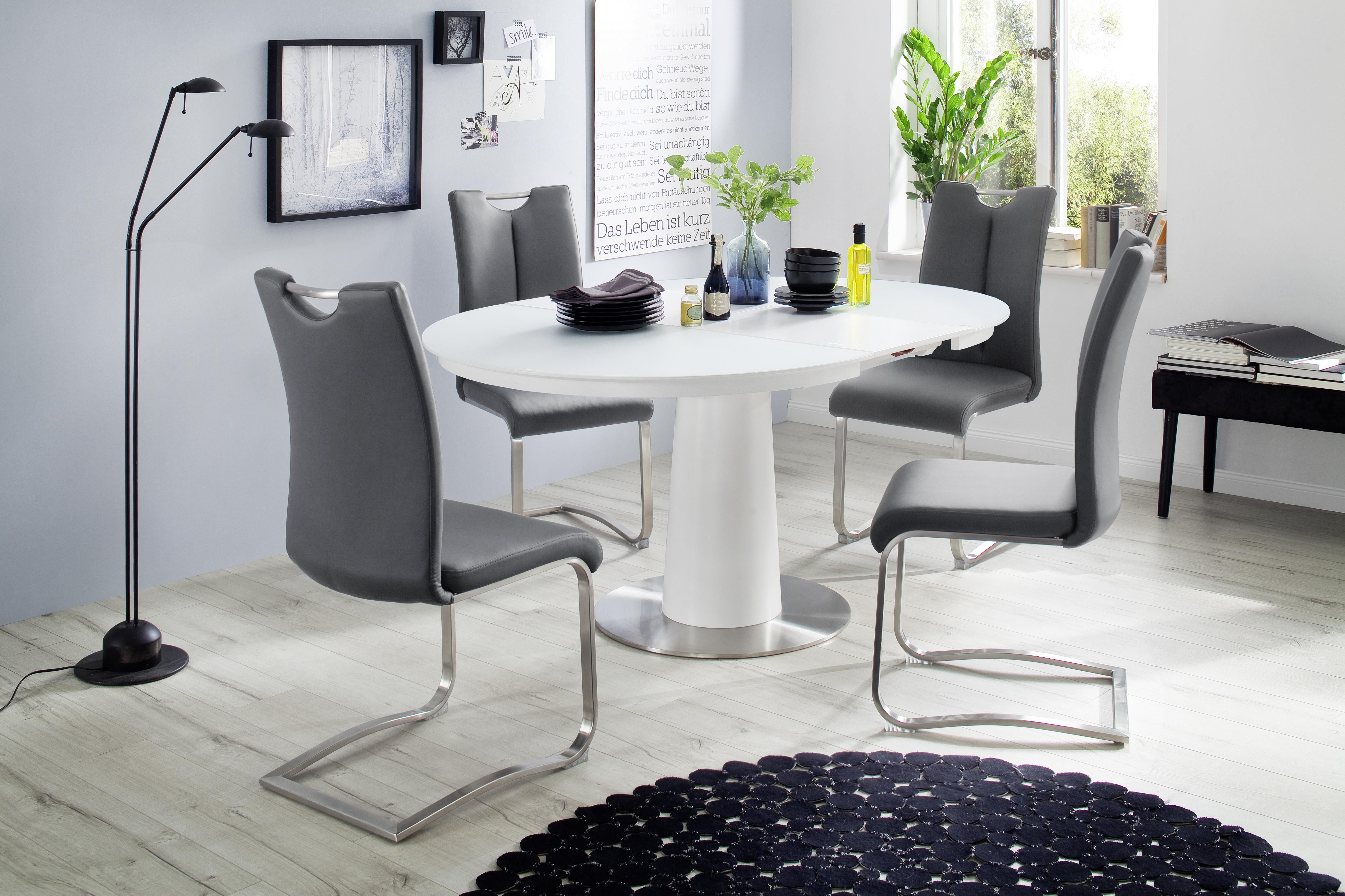 Design Witte Eettafel.Eettafel Wit Glas Aktie Wonen Nl