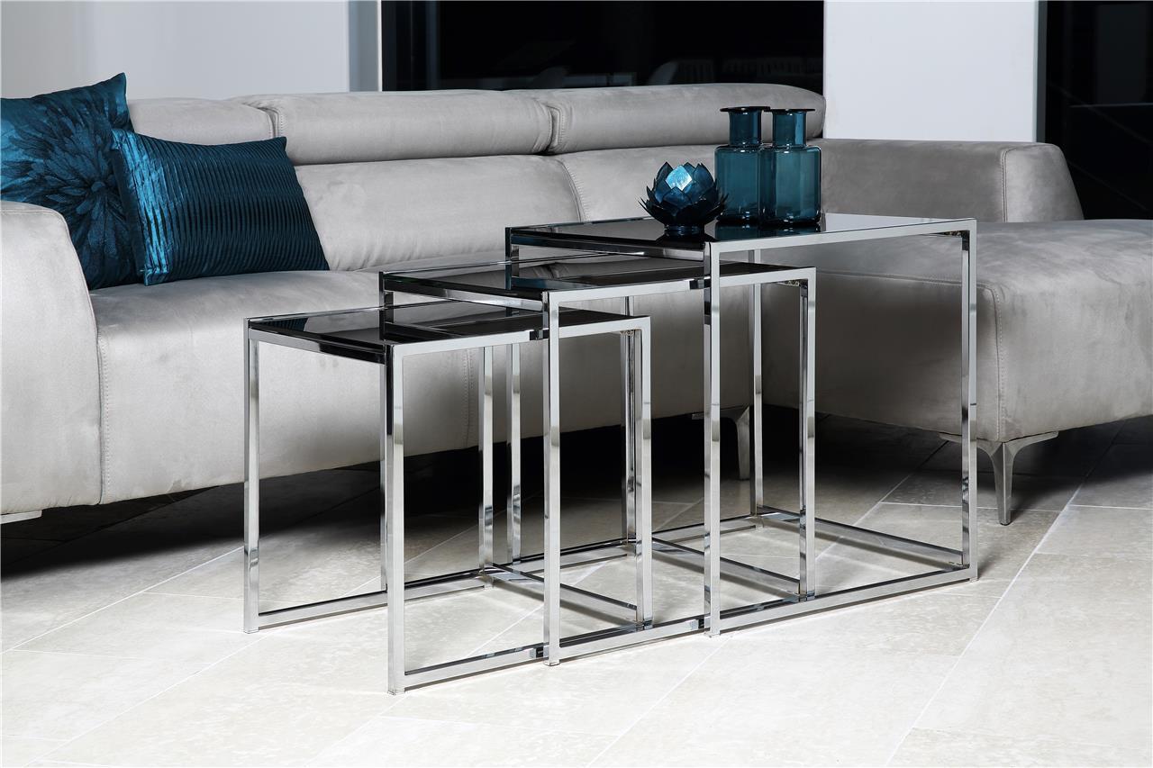 Salontafel Zwart Glas Design.Bijzettafel Set Zwart Glas Aktie Wonen Nl