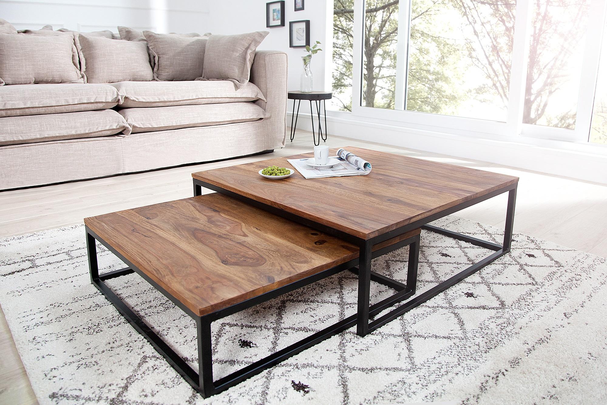 Geliefde Moderne salontafel set sheesham hout | Aktie Wonen.nl @LB29