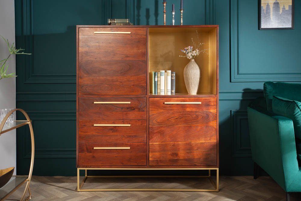 Highboard kast acacia goud