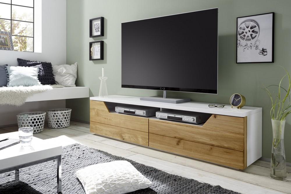 Wonen In Wit : Tv lowboard wit eiken voor in uw moderne woonomgeving aktie wonen