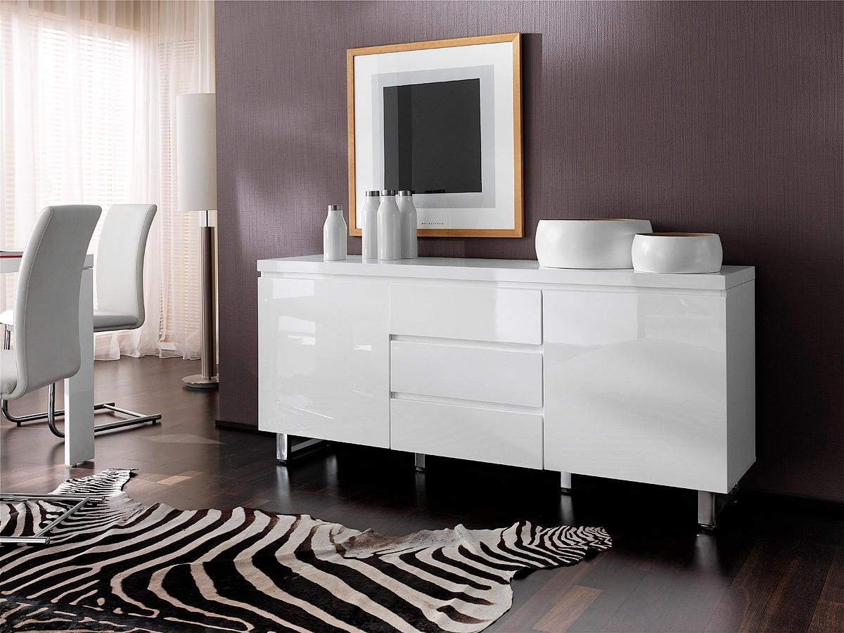 Dressoir easy van cm breed in hoogglans wit met grijs beton