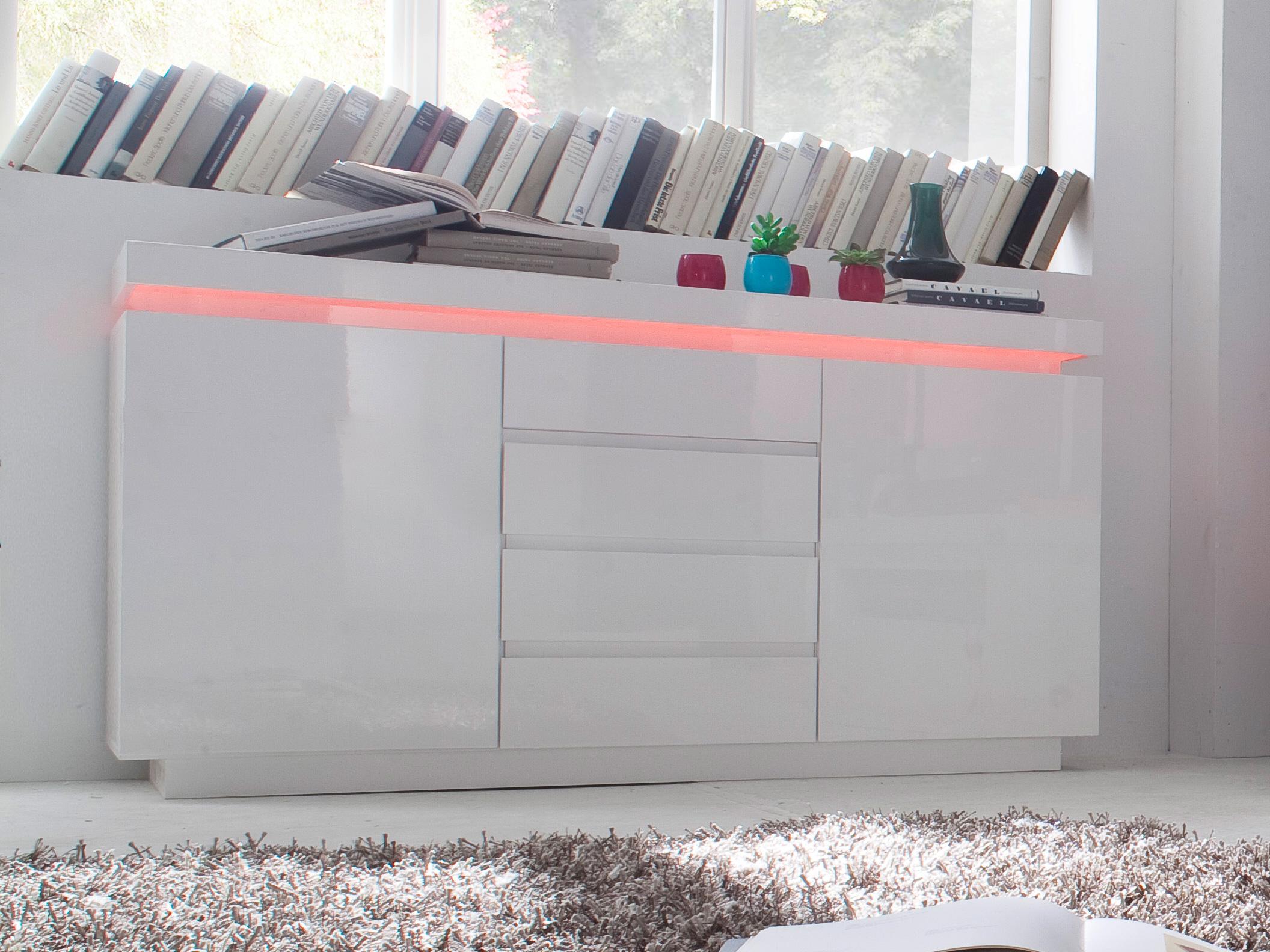 hoogglans dressoir met verlichting bestellen | Aktie wonen.nl