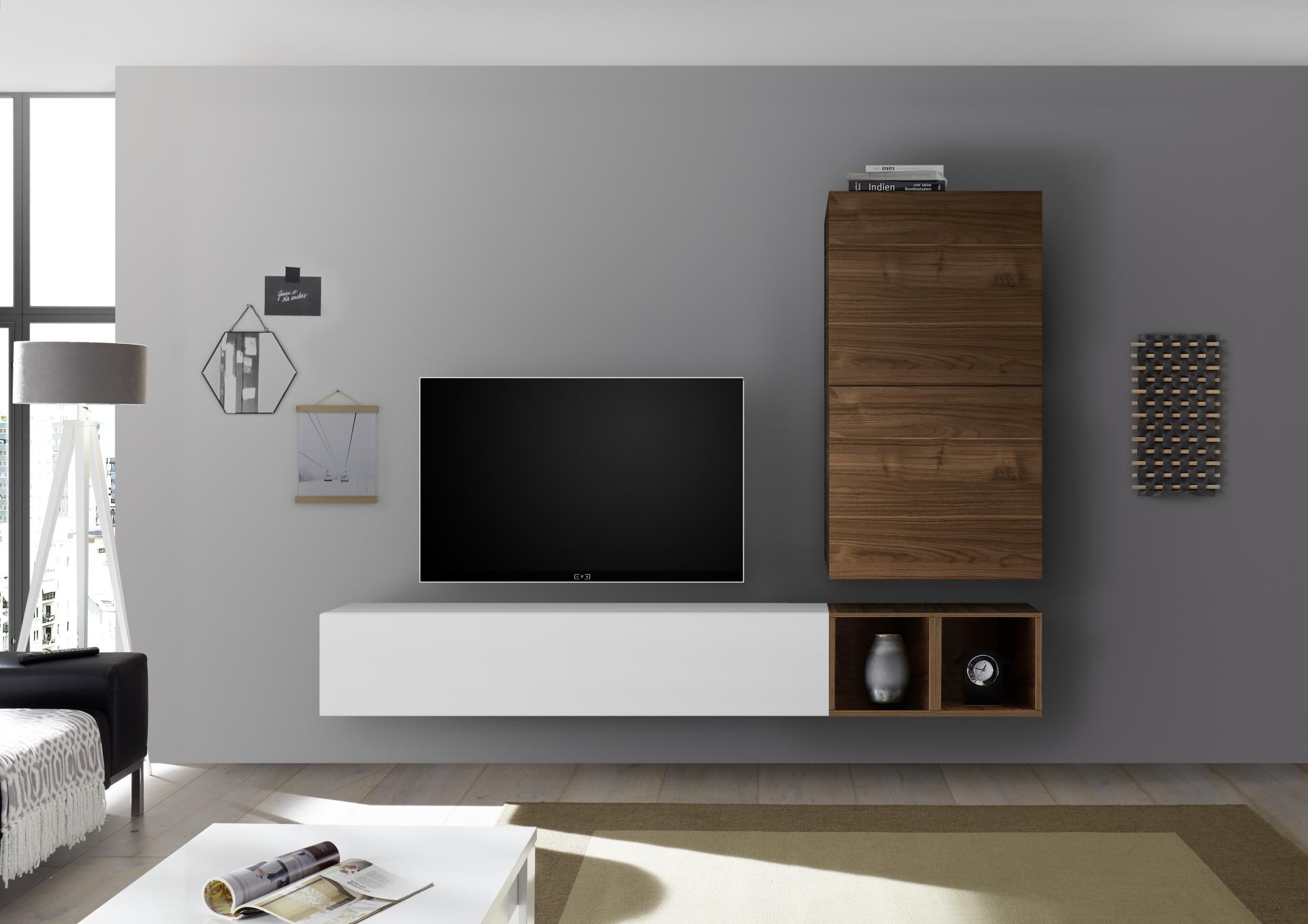 Tv Meubel Wit Noten.Moderne Zwevende Wandcombinatie Kopen Aktiewonen Nl