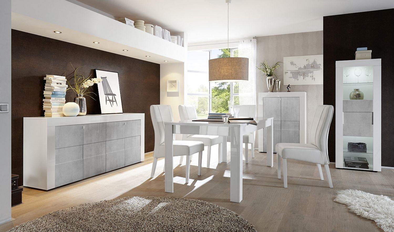 Hoogglans wit dressoir met betonlook | Aktie Wonen.nl
