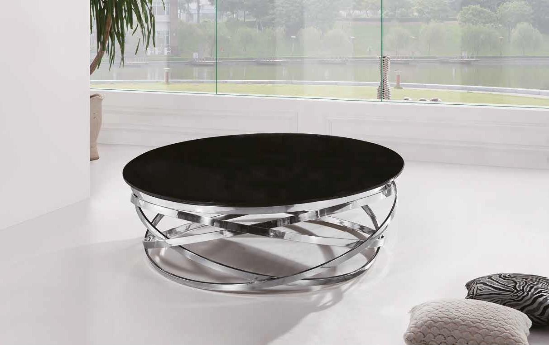 Salontafel rond met zwart glas aktie wonen