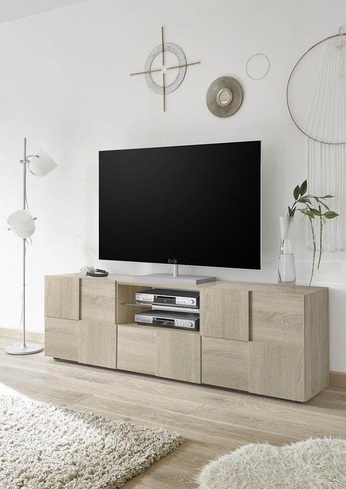 Sonoma Eiken Tv Meubel 181 Cm Zwarte En Witte Hoogglans Meubelen Aktie Wonennl