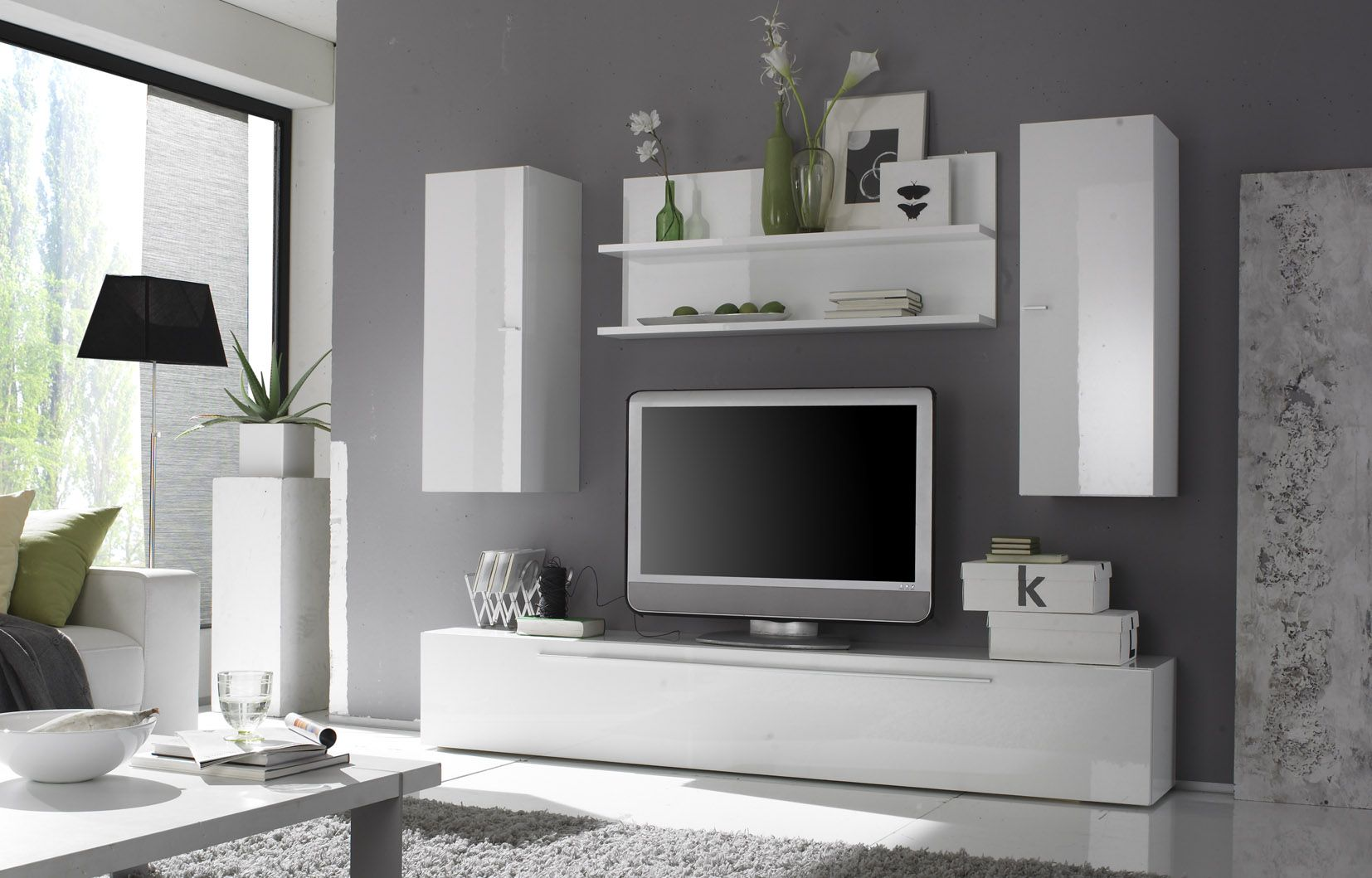 Woonkamer Wandmeubels : Modern White Lacquer Wall Unit
