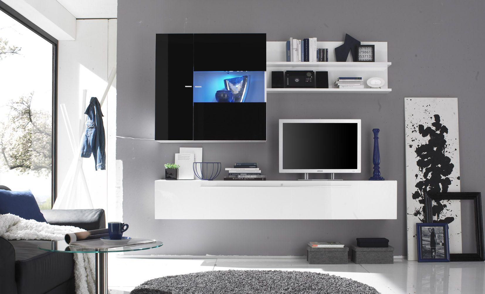 Hangend wandmeubel hoogglans wit aktie - Deco tv muur ...