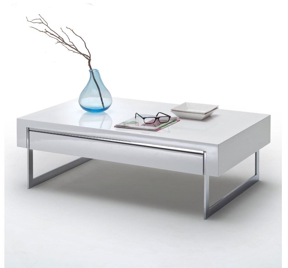 hoogglans salontafel wit chroom   Aktie wonen nl