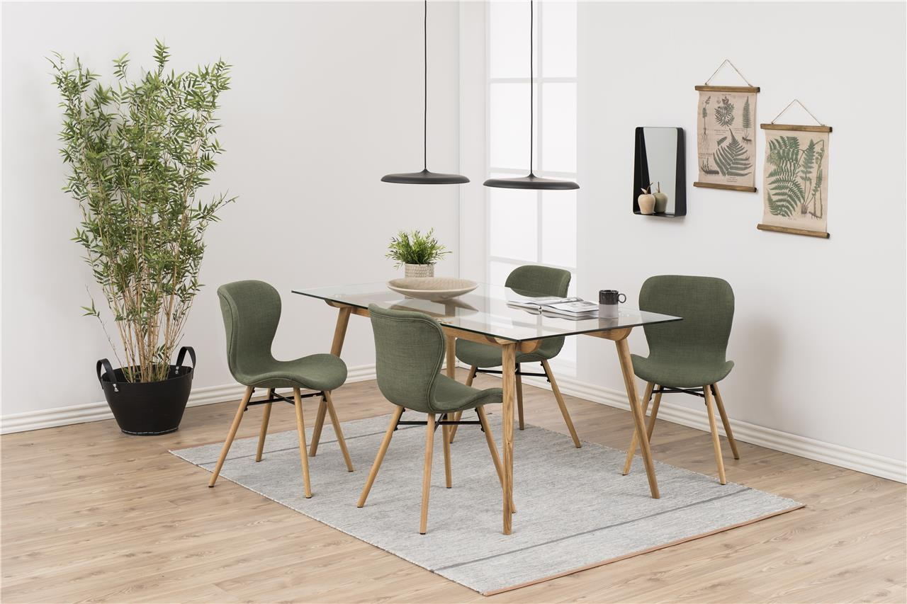 Design Tafel Stoelen.Moderne Eettafel Glas Met Eiken Onderstel Aktie Wonen Nl