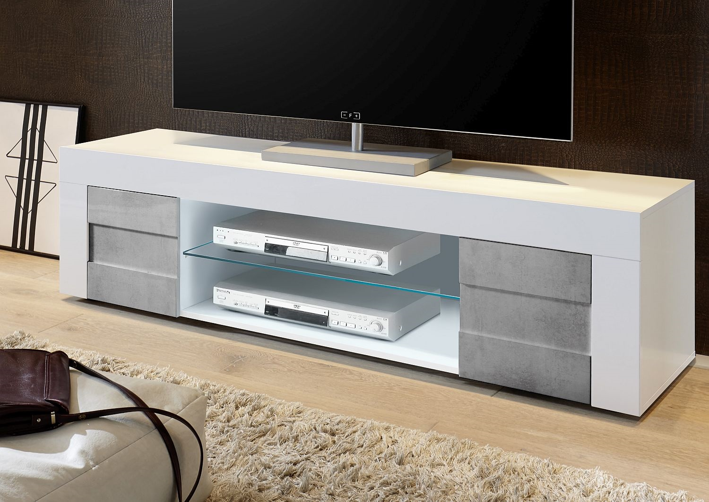 Tv meubel betonlook hoogglans aktie for Tv meubel kleine ruimte