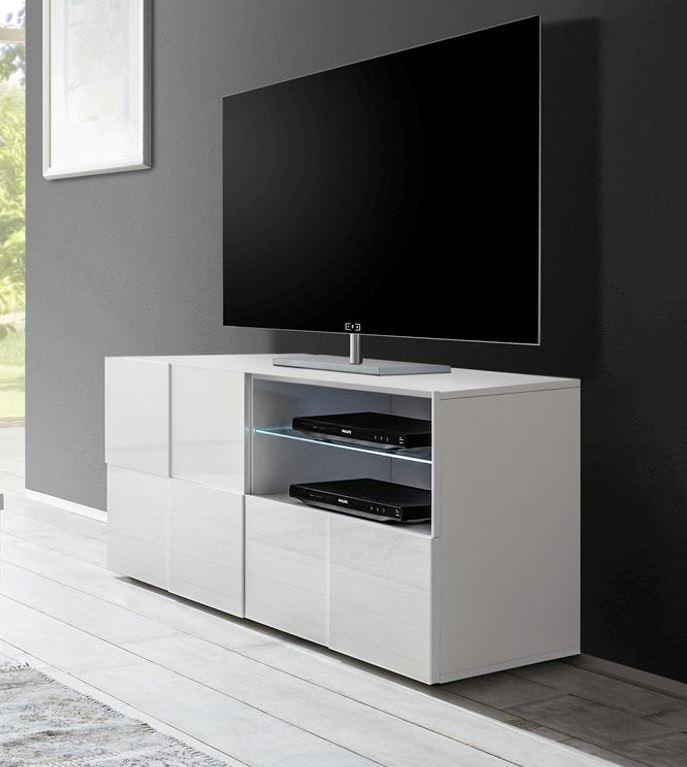 Witte Hoge Tv Kast.Tv Meubel 120 Cm Hoogglans Wit Kopen Aktiewonen Nl