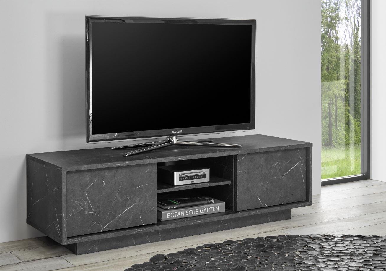 Samsung Tv Met Meubel.Tv Meubel Marmer Zwarte En Witte Hoogglans Meubelen Aktie Wonen Nl