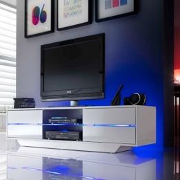 Glazen Tv Meubel Met Verlichting.Moderne Witte Hoogglans Meubelen Aktiewonen Nl