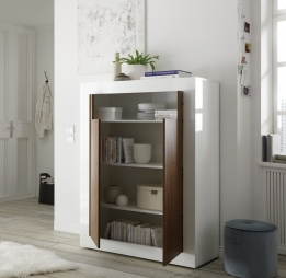 Highboard kast hoogglans walnoot