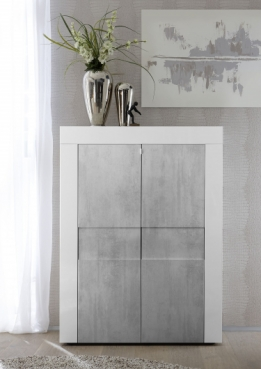 highboard wit hoogglans betonlook