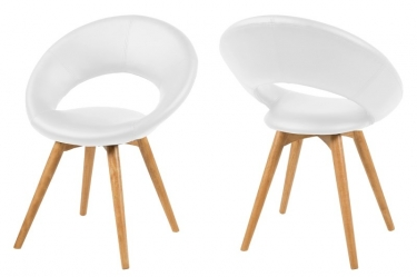 Moderne witte stoel aktie wonen nl for Stoel houten poten