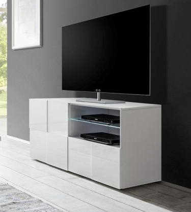 klein tv meubel hoogglans wit aktie. Black Bedroom Furniture Sets. Home Design Ideas