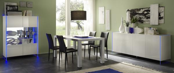 Zwarte en witte hoogglans meubelen aktie for Mobili sala da pranzo moderni